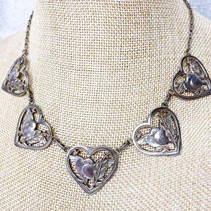 Coro Sterling Silver Bird Heart Necklace Vintage
